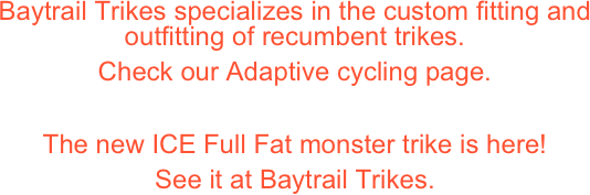 Baytrail Trikes specializes in the custom fitting and outfitting of recumbent trikes. 